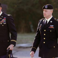 Army Sgt. Bowe Bergdahl, right, who was held by the Taliban for five years, arrives for a pretrial hearing at Fort Bragg, N.C., with his defense counsel, Lt. Col. Franklin D. Rosenblatt, in 2016.