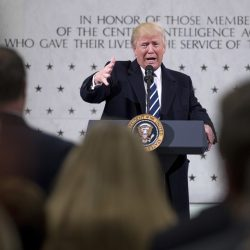 "President Trump speaks at the CIA in Langley, Va., on Saturday. ""There is nobody that feels stronger about the intelligence community and the CIA than Donald Trump,"" he said."