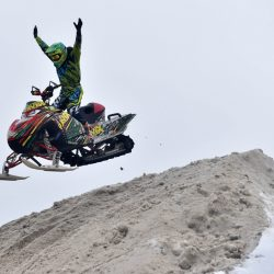 RANGELEY - ME - JANUARY 21, 2017   A stunt rider with Ravex performs at the Snodeo in Rangeley on Friday, Jan. 21, 2017. (Staff Photo / Michael G. Seamans)