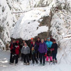 A group of hikers enjoys an outing to Balancing Rock of Orris Falls Conservation Area at South Berwick in 2016. Great Works Regional Land Trust and the Old Berwick Historical Society have planned similar hikes this week to Spiller Farm in Wells on Wednesday and to Tuckahoe Preserve in Berwick on Saturday.