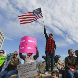 Several thousand people turned out Saturday in Wichita, Kan., which is dominated by Donald Trump supporters, for the local Women's March seeking equal rights for women and protesting Trump, a scene replicated in other small towns.
