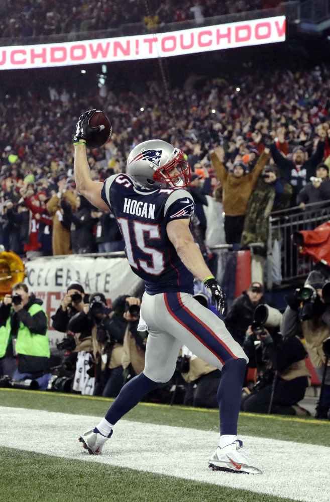 New England Patriots wide receiver Chris Hogan celebrates after making a touchdown reception during the first half.