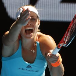 It was a tough day for the No. 1 seeds on Sunday in Melbourne, Australia, and Angelique Kerber shows her frustration. Kerber lost to CoCo Vandeweghe, while men's No. 1 Andy Murray lost to Mischa Zverev.