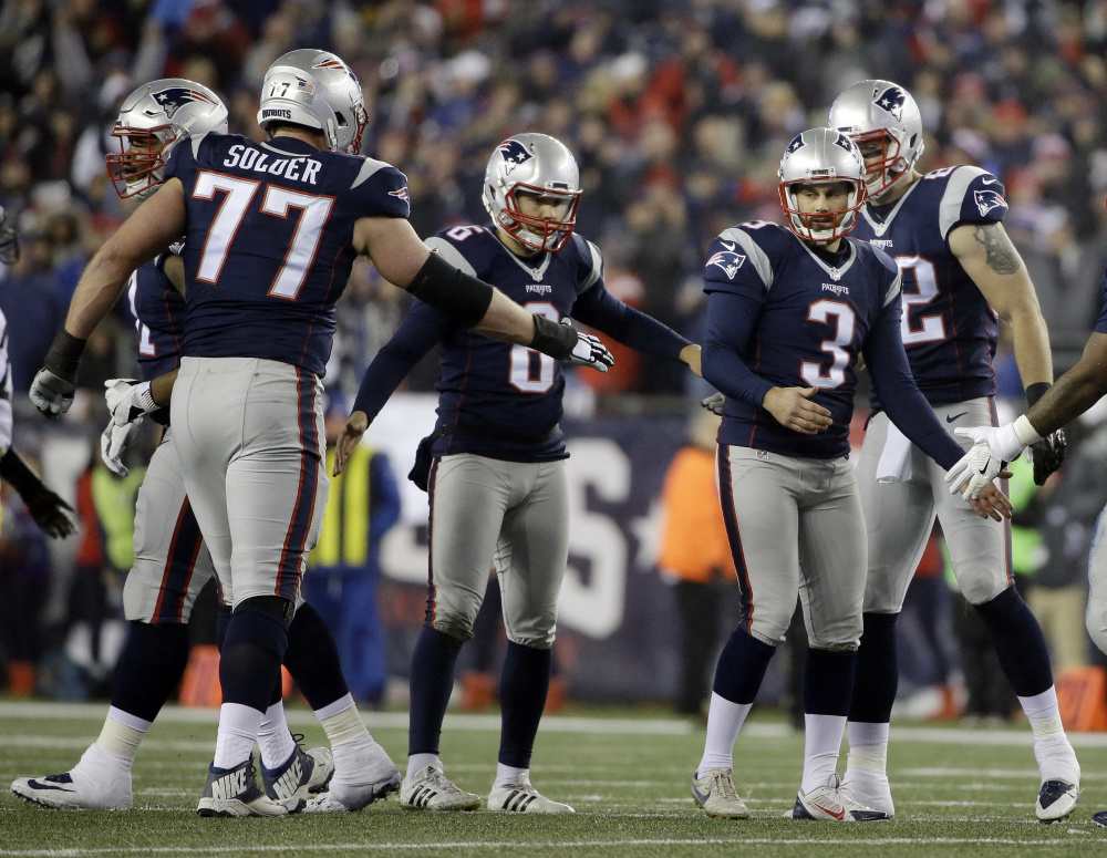 Patriots kicker Stephen Gostkowski celebrates after kicking a field goal during the second half