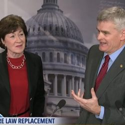 Sen. Collins speaks about her replacement  plan for the Affordable Care Act with  Sen. Bill Cassidy, R-La.