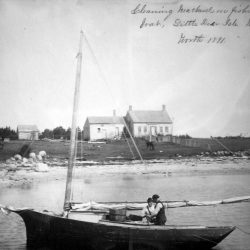 Penobscot Bay fishermen clean mackerel near their saltwater farm off the Maine coast in this 1891 photo. Scientists have concluded that the 1815 volcanic eruption of Mount Tambora in Indonesia led to a short period of climate cooling, and that led to increased the consumption of mackerel, which were less affected than crops and other animals in New England.