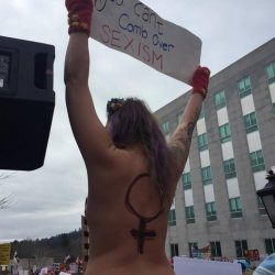 When Capitol Police tried to get this topless woman to step down from a pillar Saturday in Augusta, the officer was bitten on the hand by another woman, police said.