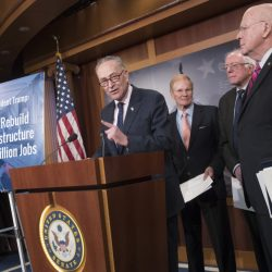 From left, Senate Minority Leader Charles Schumer of New York, Sen. Bill Nelson, D-Fla., Sen. Bernie Sanders, I-Vt., and Sen. Patrick Leahy, D-Vt., participate in a news conference on Capitol Hill in Washington on Tuesday to offer a proposal to spend $1 trillion on infrastructure projects in an attempt to engage President Trump on an issue where they hope to find common ground.
