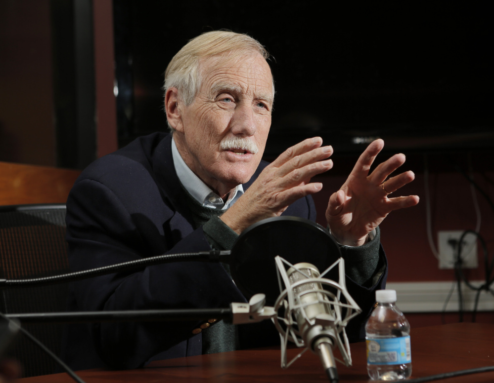 """In explaining his opposition to school-choice advocate Betsy DeVos to head the Department of Education, Sen. Angus King, shown in Portland last month, said, """"Nobody argues that the public education system is perfect or can't be improved, and I think that's where the emphasis should be."""""""
