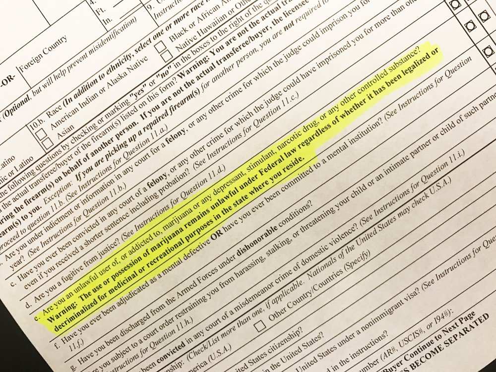 Language added last week to Form 4473, filled out by gun buyers nationwide, steps up federal efforts to keep guns out of the hands of marijuana users, even as legal use of the drug spreads.
