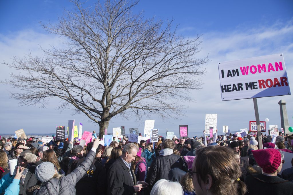Thousands of people gather on the Eastern Promenade to march down Congress Street for the Women's Walk on Saturday.