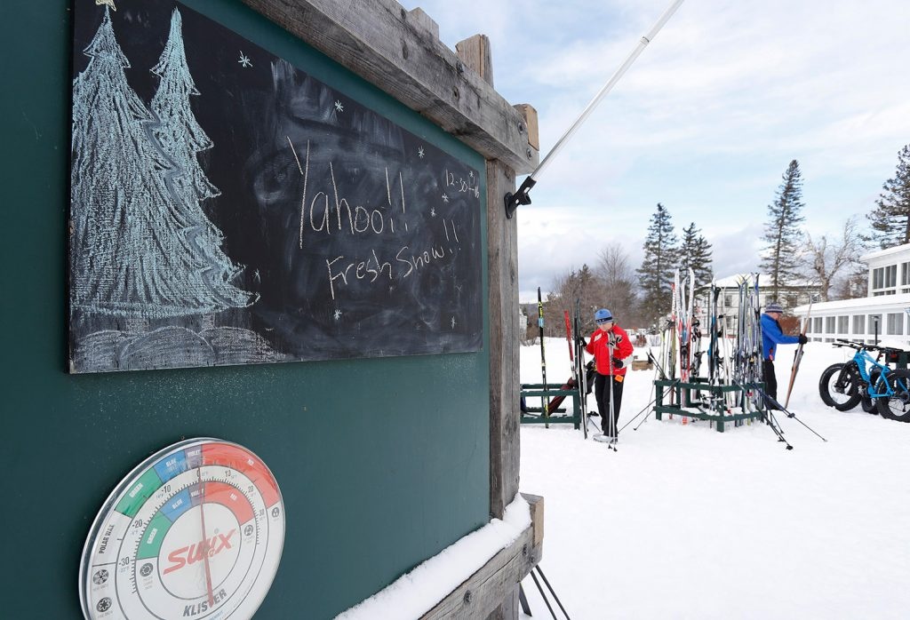 A nordic skier prepares to head out on the trails in Bethel.