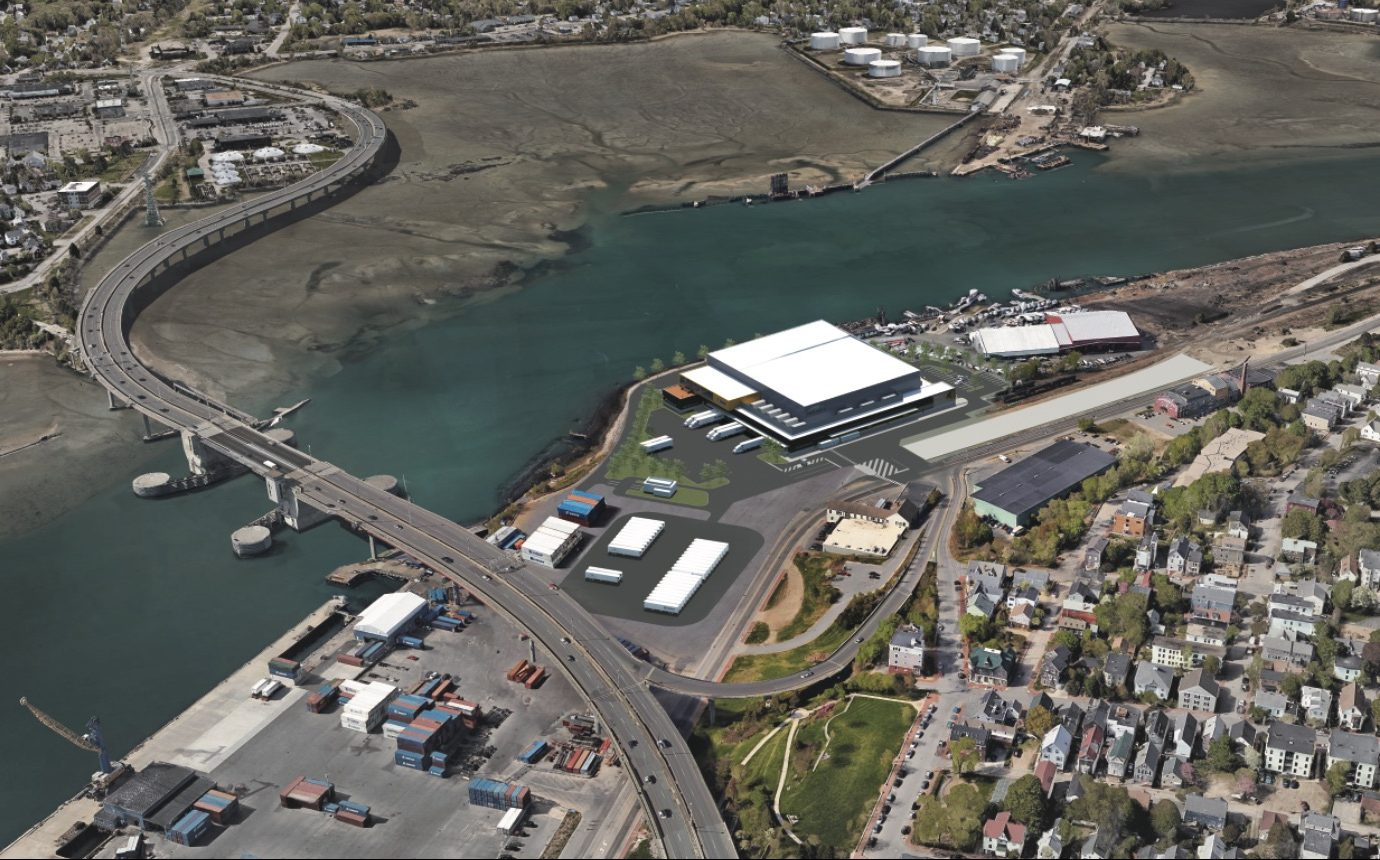 This rendering show what the cold-storage facility would look like from the air.