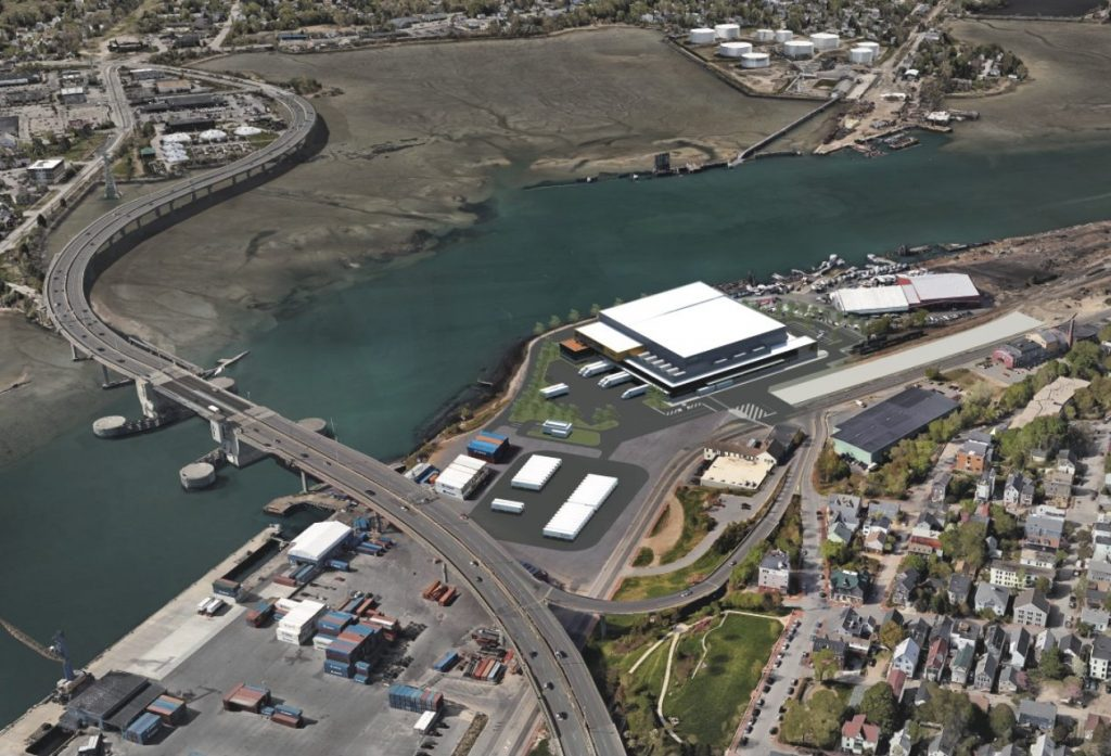 This rendering shows what the cold-storage facility would look like from the air.