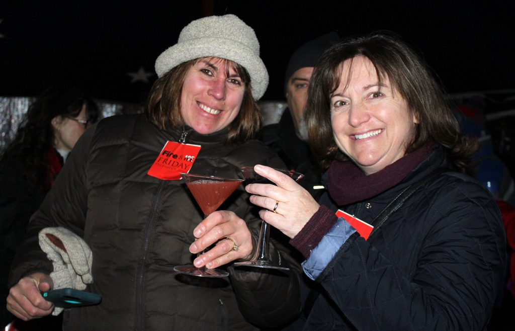 Friends Emilie Spas and Alison Rogers, both of Kennebunk, at Fire & Ice hosted by The Nonantum Resort.