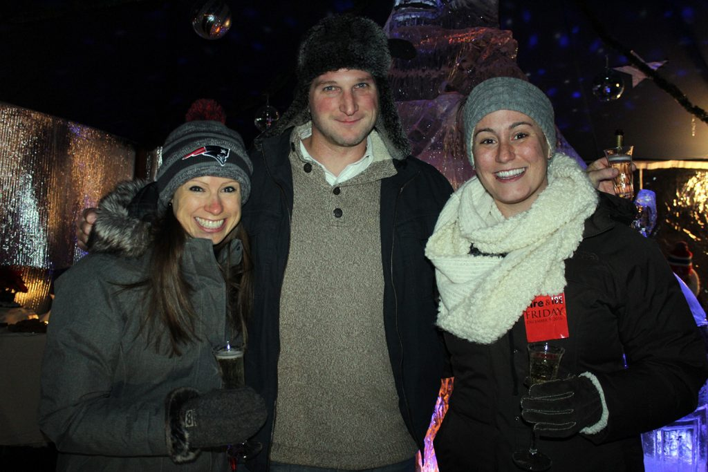 Jessica Pyc with Nate and Lauren Podbelski at the Fire & Ice event in Kennebunkport.