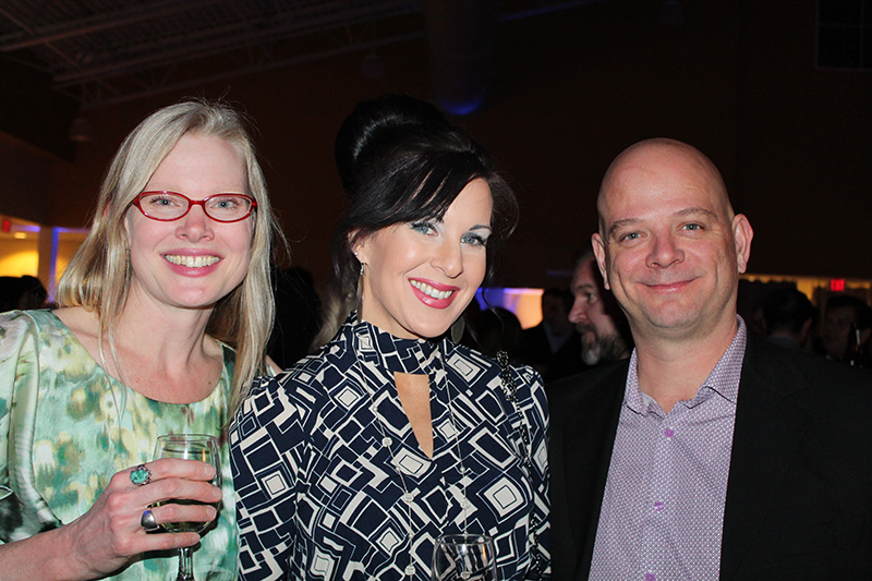 Lisa Bassett of Portland, center, with Christy Ellingsworth and her husband, John at Eimskip's second annual Scandinavian Northern Lights Christmas Charity party.