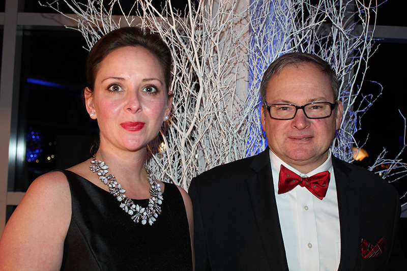 Kristin Matthews with her husband, Evan, executive director of the Connecticut Port Authority at Ocean Gateway on Dec. 9 for the Eimskip Christmas party and benefit.