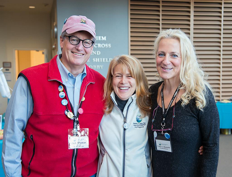 NOV. 12: Friends of Casco Bay's festival attracted more than 500 attendees. Above, board president Jack Thomas, Casco Baykeeper Ivy Frignoca and Executive Director Cathy Ramsdell.