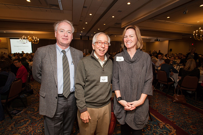 NOV. 1: James Page, Chancellor, University of Maine; former MaineCF Board Chair Ken Spirer; and Peggy Schick, Director of Development, Maine Maritime Museum at the Maine Community Foundation's summit.