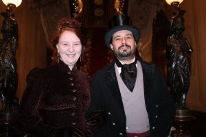 Gaslight League members Sharon Hudson of Portland and Kevin Ryan of Gray dressed as the past – specifically, 1885.