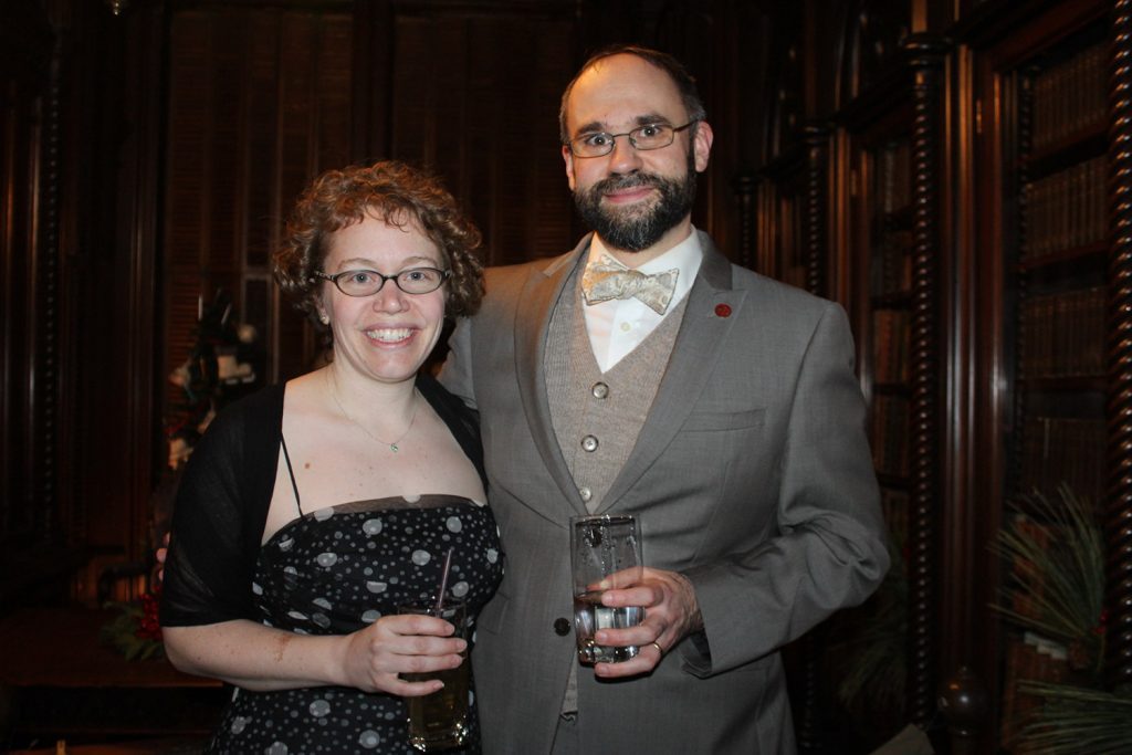 Gaslight League member Katie Worthing with her husband, Sam Heck, director of development for Victoria Mansion.