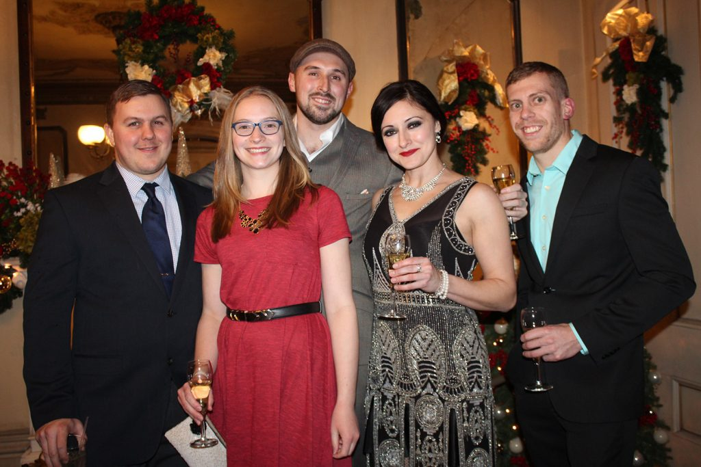 Kyle Benson of Westbrook, Kara Scherer of South Portland, Randy Sparks of Portland, Erika Puschock of Portland and Luke Roy of New Hampshire at the New Year's Eve event at Victoria Mansion.