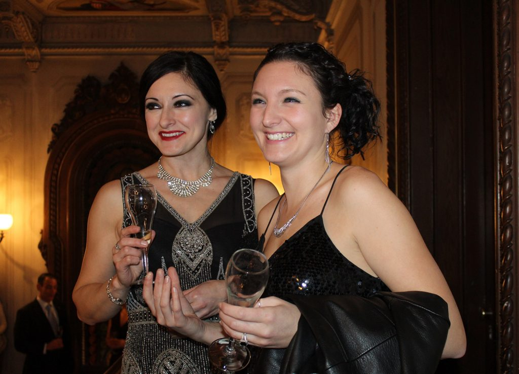 Erika Puschock and Bethany Nappi, both of Portland. The Gaslight League, the Victoria Mansion's young donors group, toasted the new year with a nod to 1885