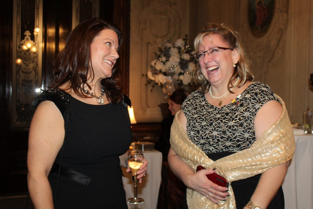 Gaslight League member Judy Witherell with steering committee member Bethany Willard.