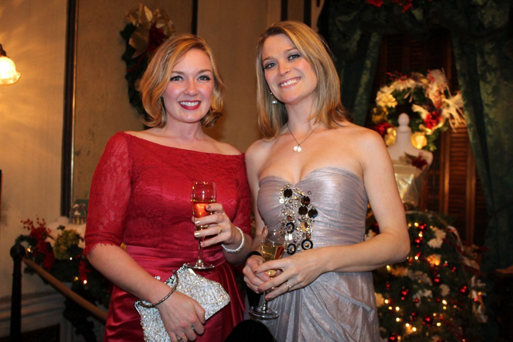 Morgan Witham of Deer Isle and Victoria Mansion trustee Lauren Webster of Strong at the New Year's Eve event.