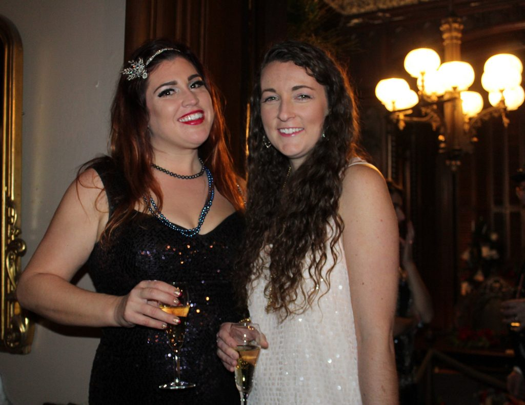 Victoria Mansion docent Suzannah Raber with Rebecca Veilleux, both of Portland. Members of the Gaslight League toasted 2017 with a nod to 1885.