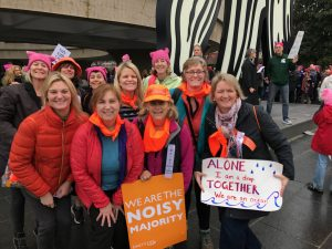 Maine march organizers meet at the Hirshhorn Museum on Saturday morning before the Women's March on Washington.