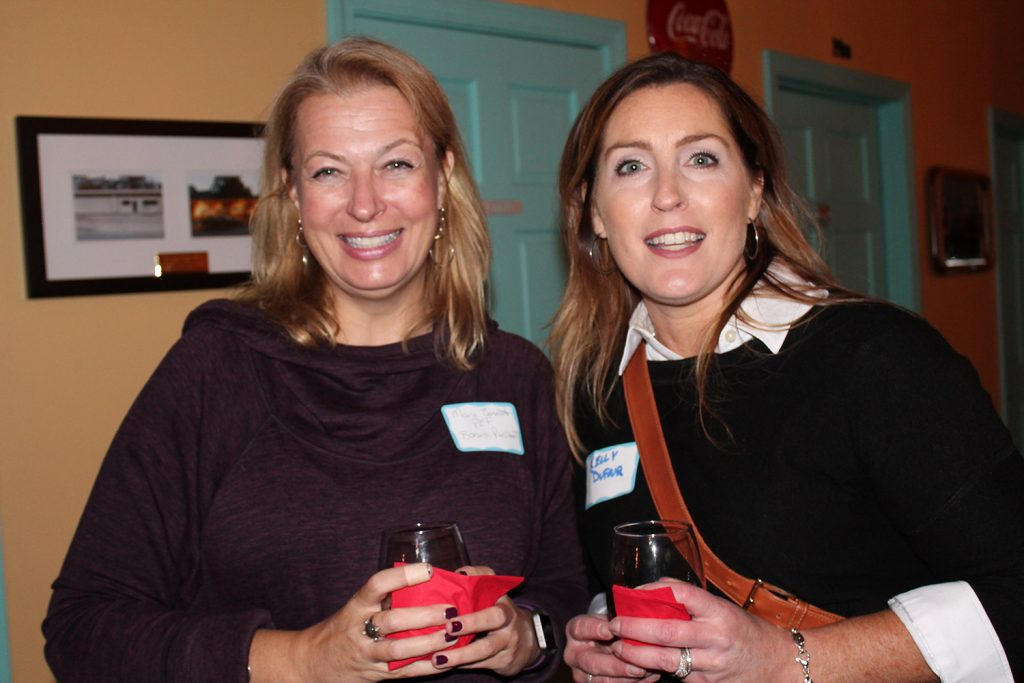 Mary Bennett, president of the Portland Education Foundation board, with Kelly Dufour at the organization's Meet and Greet event.
