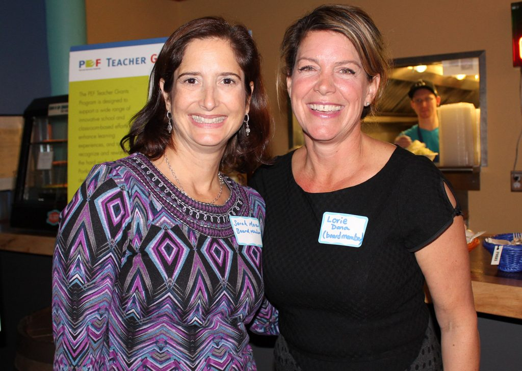 Lorie Dana, right, a PEF board member and owner of event host El Rayo, with board member Sarah Moran.