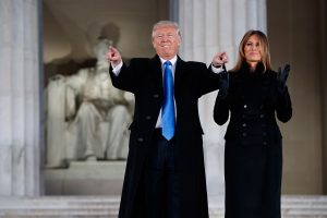 "President-elect Donald Trump and his wife, Melania, arrive at the ""Make America Great Again Welcome Concert"" at the Lincoln Memorial, on the eve of Trump's inauguration."