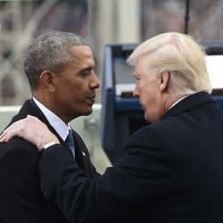 President Barack Obama speaks with President-elect Donald Trump during inauguration.