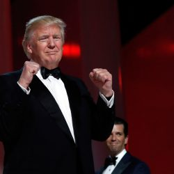 President Donald Trump acknowledges the crowd at the Liberty Ball on Friday in Washington.