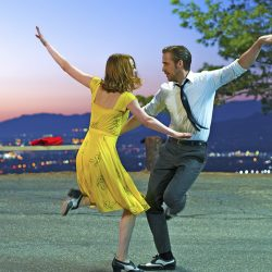 "Ryan Gosling and Emma Stone in a scene from, ""La La Land."" Both have been nominated for Academy Awards and ""La La Land"" is nominted as best picture."