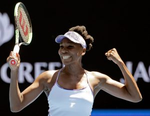 Venus Williams celebrates after defeating Russia's Anastasia Pavlyuchenkova on Tuesday in their quarterfinal at the Australian Open. Williams reached the tournament's semifinals for the first time since 2003.