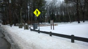 Snow is piled high on the Forest Avenue sidewalk next to Baxter Woods on Jan. 4.