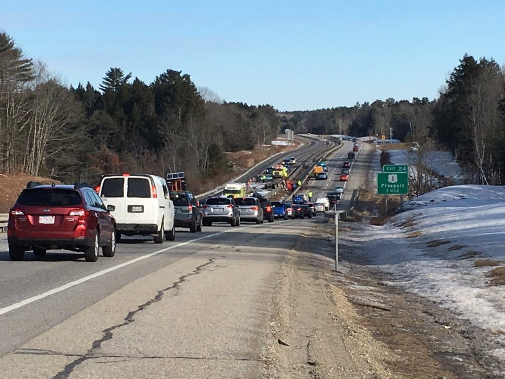 Traffic is backed up on I-295 near Freeport after a fatal truck crash on Jan. 14, 2017. MDOT is planning a long-term technical study of the I-295 corridor that will focus on highway interchanges, traffic signals, new lighting and evaluation of new ramps.