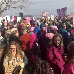 Thousands of marchers packed Congress Street and the Eastern Promenade for the Women's Walk in Portland on Saturday morning.