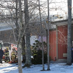 Firefighters respond to a fire at Soleras Advanced Coatings at 16 Landry St. in Biddeford on Thursday.