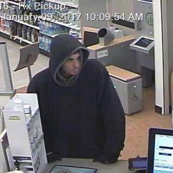 A Rite Aid security photo shows the man police believe robbed the Skowhegan pharmacy Monday morning.
