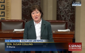 U.S. Sen. Susan Collins, R-Maine, speaks Tuesday on the Senate floor about the repeal of the Affordable Care Act.
