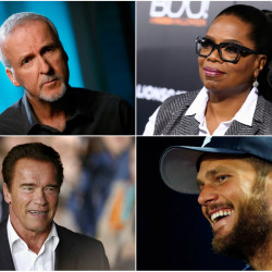 From top, director James Cameron; TV personality Oprah Winfrey; Patriots quarterback Tom Brady; actor and former California Gov. Arnold Schwarzenneger.