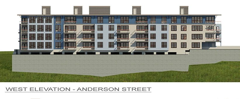 These architect's renderings show a proposed five-story 45-unit condominium project at 218 Washington Ave.in Portland.