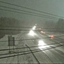 A Maine Turnpike webcam showed this view of road conditions looking south from an overpass in Biddeford at 6:15 a.m. Tuesday .