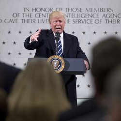President Donald Trump speaks at the Central Intelligence Agency in Langley, Va. on Saturday.
