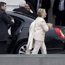 Hillary Clinton and former President Bill Clinton arrive on Capitol Hill for the inauguration.
